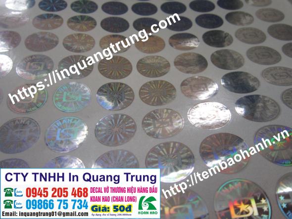 In ấn tem bảo đảm giá chỉ từ 200VND 1 con tem ở tại KiênGiang
