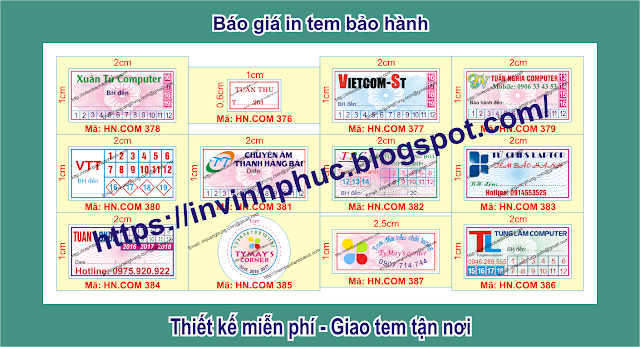 In tem bảo hành giảm giá sâu 56% chỉ vào 185đ/cái tem ở tại Xã Chiên Sơn, Huyện Sơn Động, Tỉnh BắcGiang
