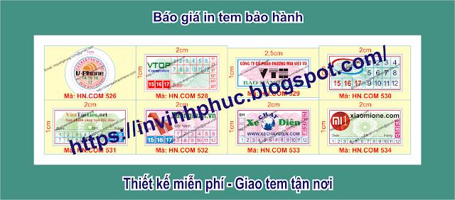 In tem bảo hành giảm giá khủng 25% chỉ vào 135đ/cái tem ở Xã Vĩnh Hậu, Huyện An Phú, Tỉnh AnGiang