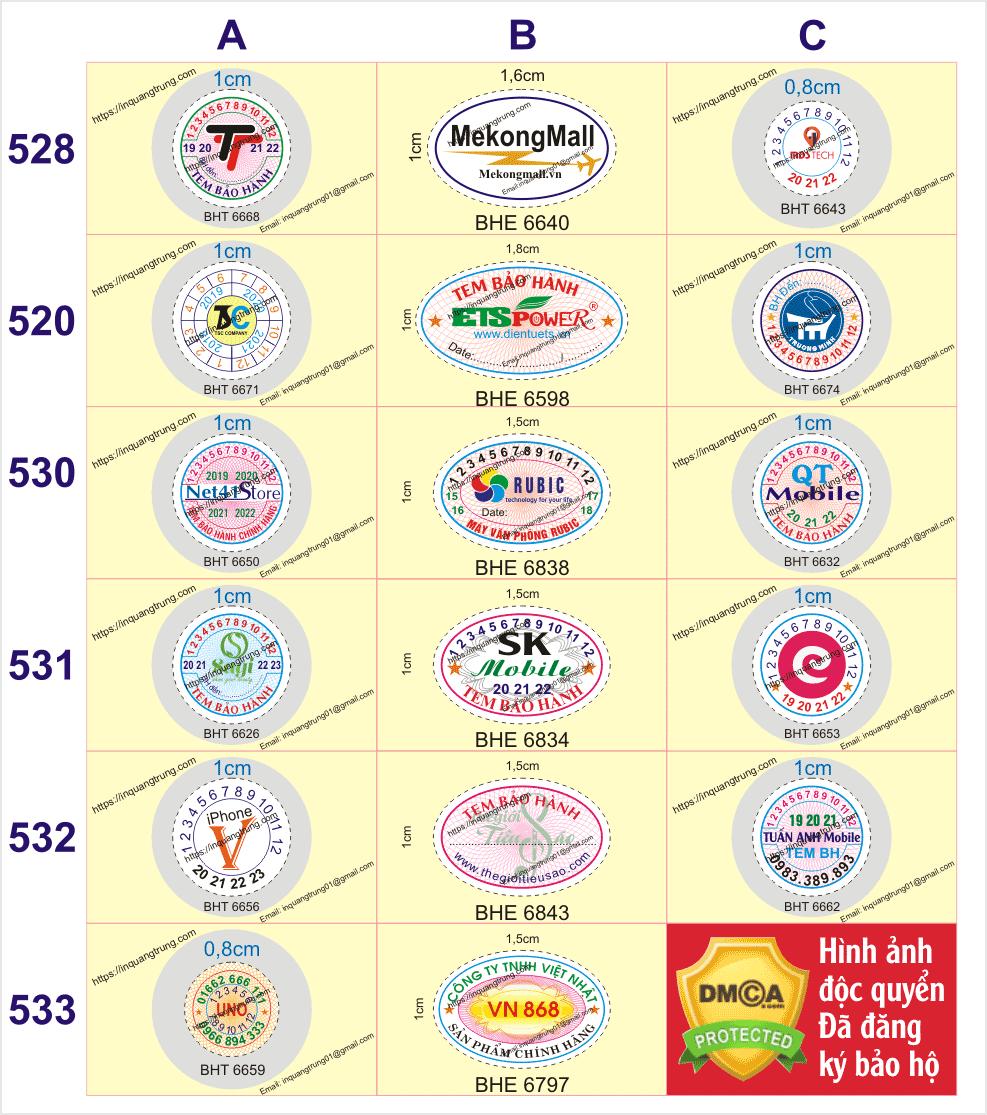 Chuyên in tem vỡ ở Tỉnh An Giang giá rẻ chỉ từ 210đ/cáitem