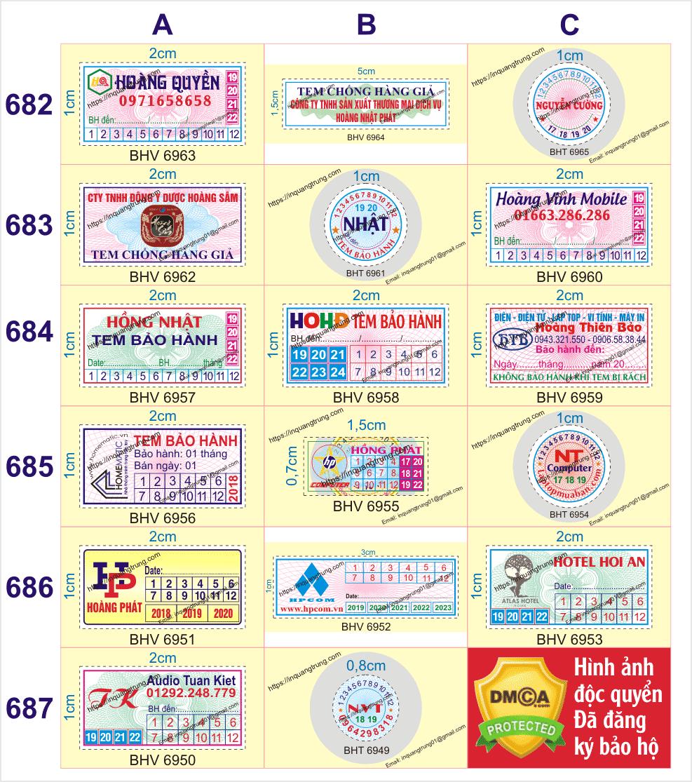 Chuyên in tem bảo hành ở Tỉnh Quảng Trị giá chỉ từ 50đ/cáitem